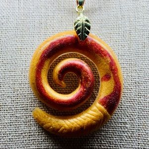 Orange and red spiral necklace,Maori necklace